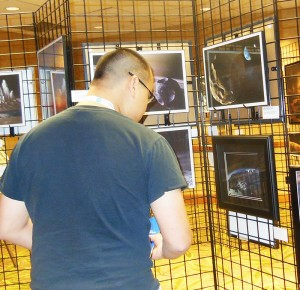 Attendee looking at my print at the IAAA artshow