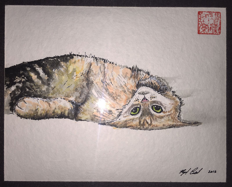 Painting of a cat with his head upside down