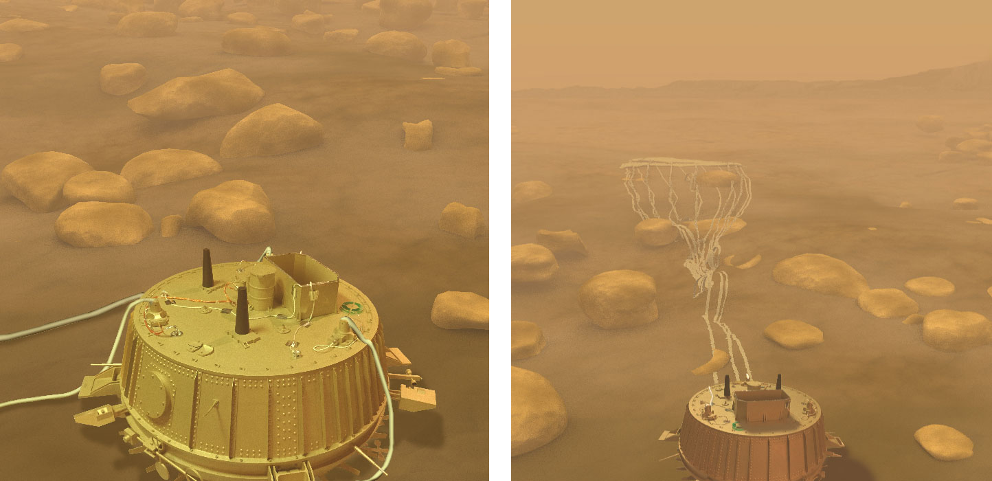 Two views of Huygen on Titan